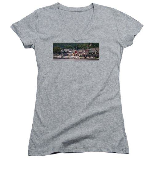 Boathouse Row Philadelphia Pa  Women's V-Neck T-Shirt (Junior Cut) by Terry DeLuco