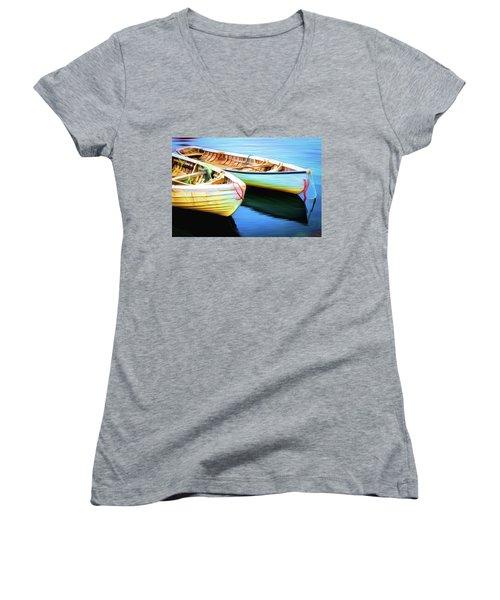 Boats Women's V-Neck T-Shirt (Junior Cut) by Andre Faubert
