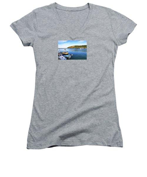 Women's V-Neck T-Shirt featuring the photograph Boats At Friendly Bay by Nareeta Martin