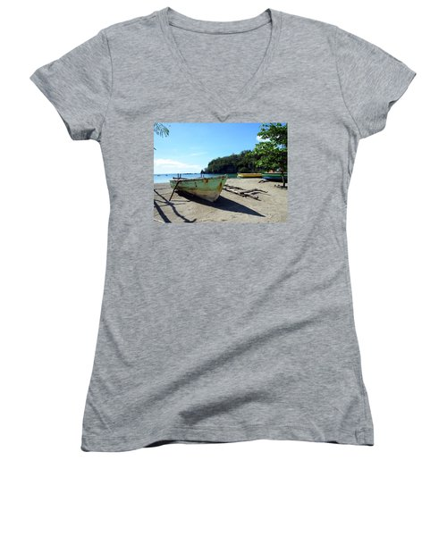 Women's V-Neck T-Shirt (Junior Cut) featuring the photograph Boats At La Soufriere, St. Lucia by Kurt Van Wagner