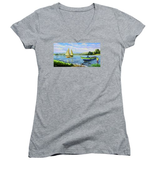 Women's V-Neck T-Shirt (Junior Cut) featuring the painting Boats At Lake Victoria by Anthony Mwangi