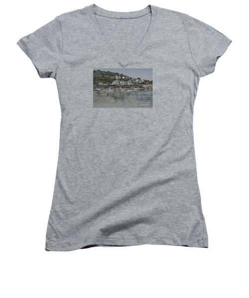 Boats At Looe Women's V-Neck T-Shirt (Junior Cut) by Brian Roscorla