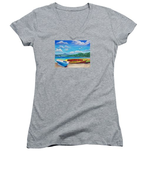 Boats At Rest Women's V-Neck T-Shirt (Junior Cut) by Laura Forde