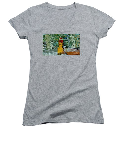 Boats In A Reflection Women's V-Neck T-Shirt