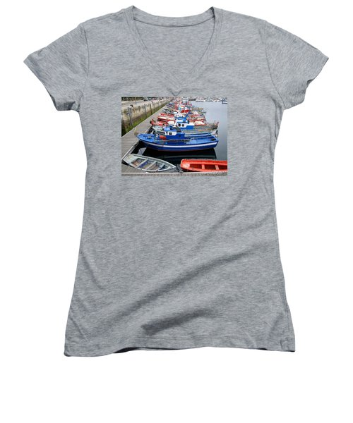 Women's V-Neck T-Shirt (Junior Cut) featuring the photograph Boats In Norway by Joan  Minchak
