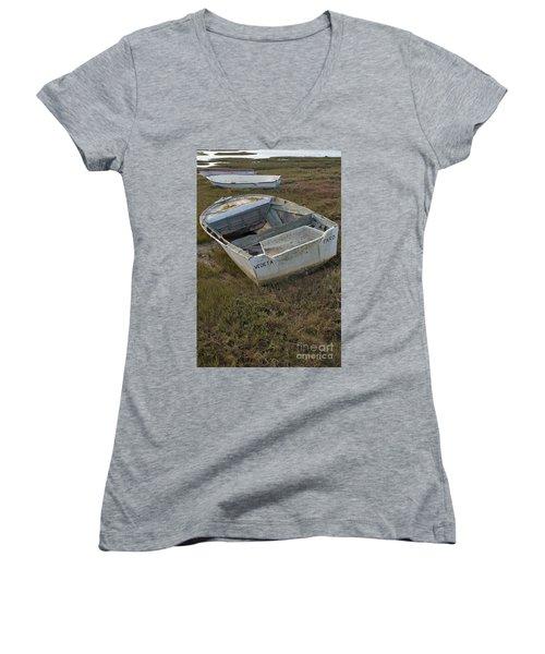 Boats In Ria Formosa Women's V-Neck T-Shirt