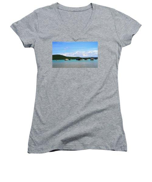 Boats In Sleeping Bear Bay Wood Texture Women's V-Neck T-Shirt (Junior Cut) by Dan Sproul