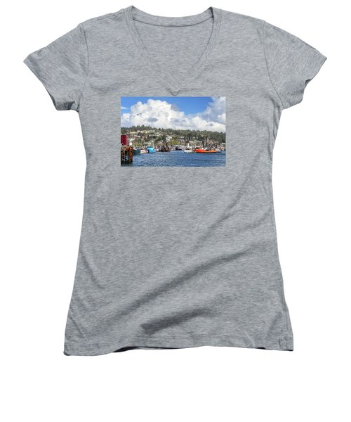 Boats In Yaquina Bay Women's V-Neck T-Shirt (Junior Cut) by James Eddy