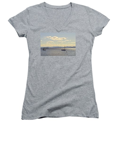 Boats On Lake Champlain Vermont Women's V-Neck (Athletic Fit)