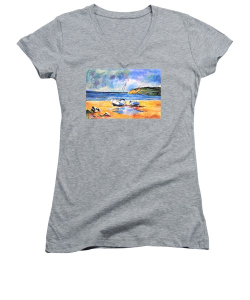 Boats On The Beach Women's V-Neck (Athletic Fit)