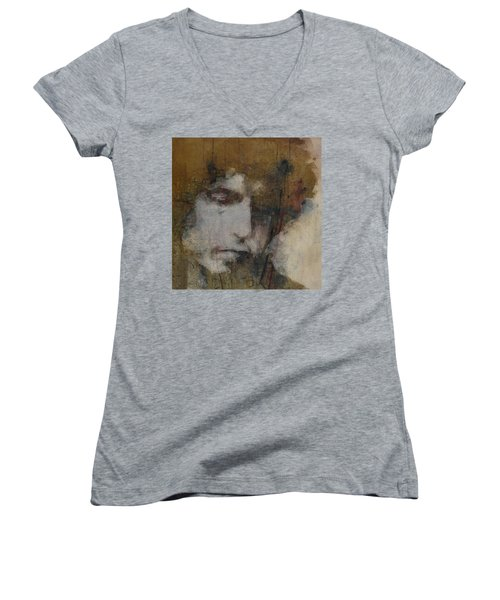 Bob Dylan - The Times They Are A Changin' Women's V-Neck (Athletic Fit)