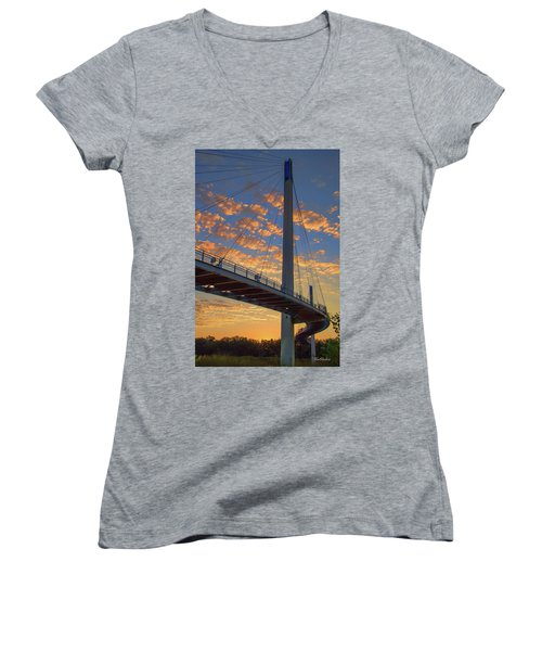 Bob Kerry Bridge At Sunrise Women's V-Neck (Athletic Fit)