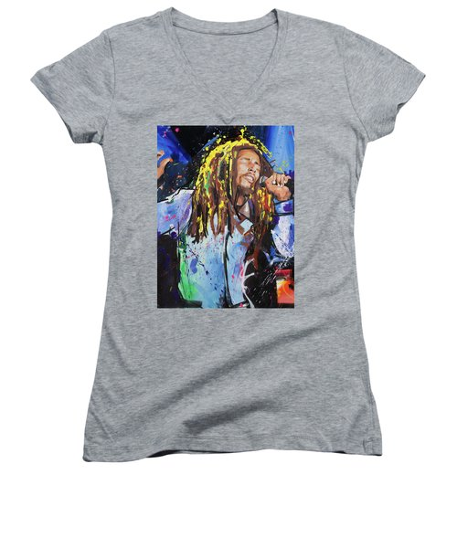 Bob Marley Women's V-Neck T-Shirt (Junior Cut) by Richard Day