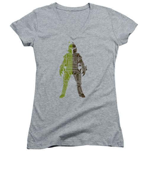 Boba Fett - Star Wars Art, Green 03 Women's V-Neck (Athletic Fit)