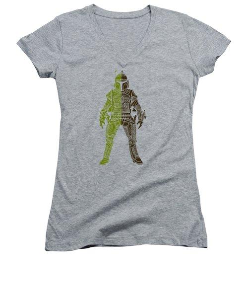 Boba Fett - Star Wars Art, Green 03 Women's V-Neck