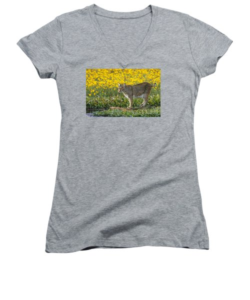 Bobcat In The Swamp Women's V-Neck T-Shirt (Junior Cut) by Myrna Bradshaw