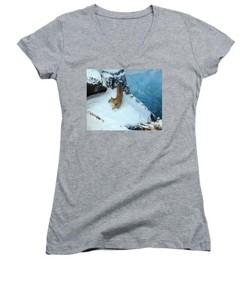 Women's V-Neck T-Shirt (Junior Cut) featuring the digital art Bobcat On A Mountain Ledge by Chris Flees