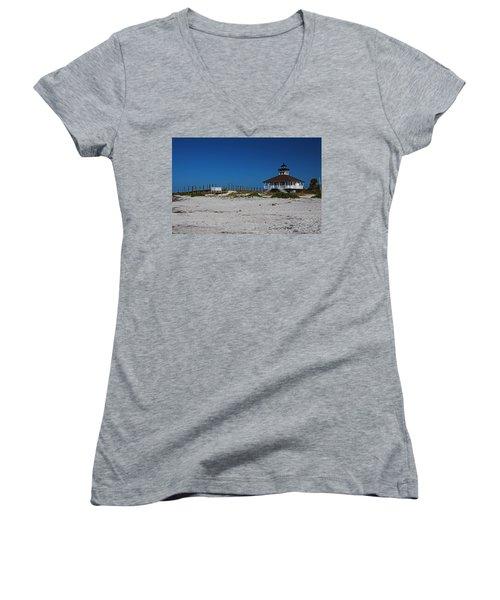Women's V-Neck T-Shirt featuring the photograph Boca Grande Lighthouse Ix by Michiale Schneider