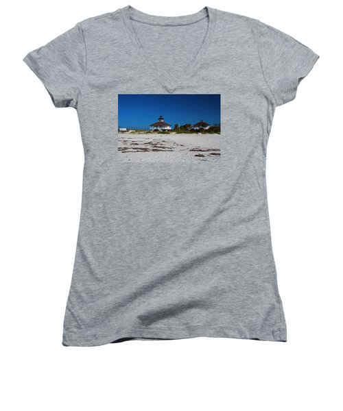 Women's V-Neck T-Shirt featuring the photograph Boca Grande Lighthouse X by Michiale Schneider