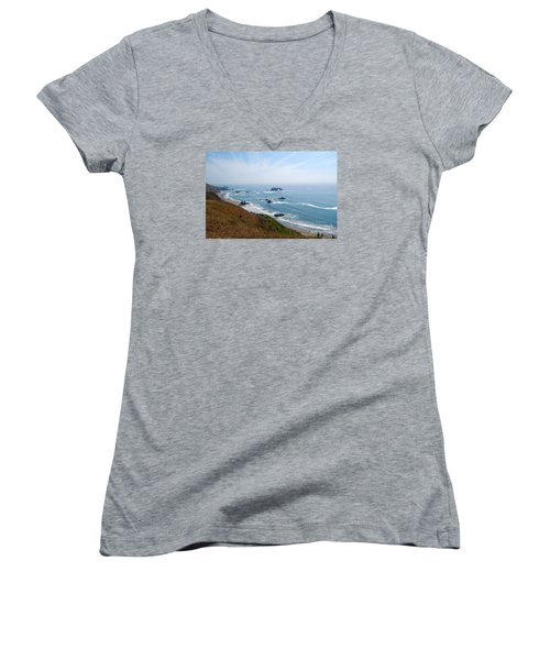 Women's V-Neck T-Shirt (Junior Cut) featuring the photograph Bodega Bay Arched Rock by Debra Thompson