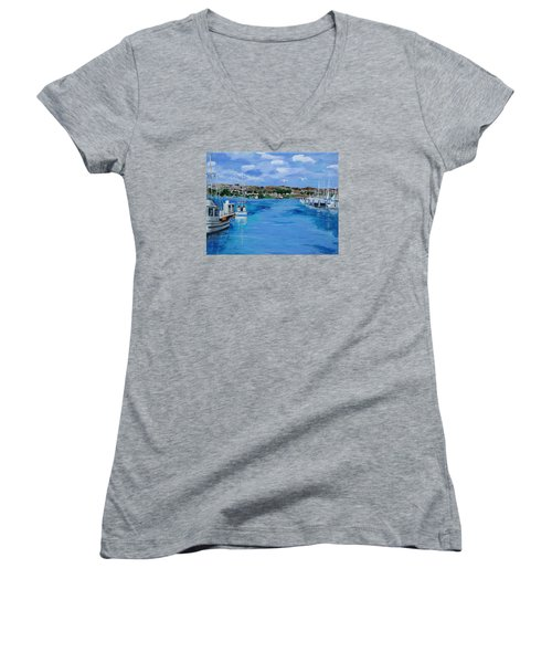 Bodega Bay From Spud Point Marina Women's V-Neck T-Shirt (Junior Cut) by Mike Caitham