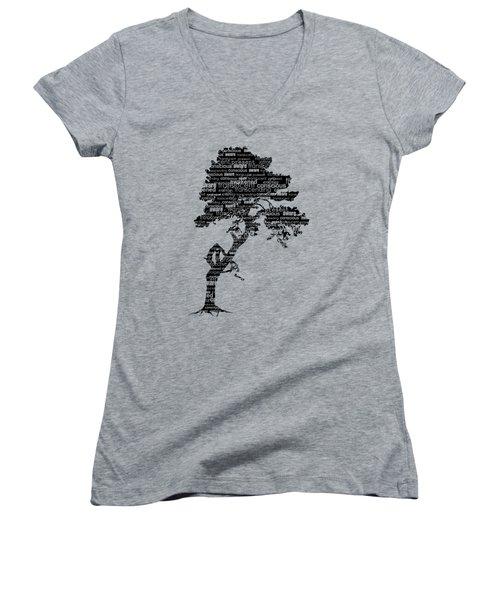 Women's V-Neck T-Shirt (Junior Cut) featuring the digital art Bodhi Tree Of Awareness by Tammy Wetzel