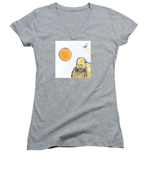 Bodhidharma Musing Silence Women's V-Neck T-Shirt