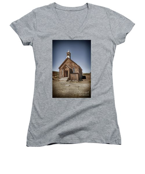 Women's V-Neck T-Shirt (Junior Cut) featuring the photograph Bodie Church by Jim  Hatch