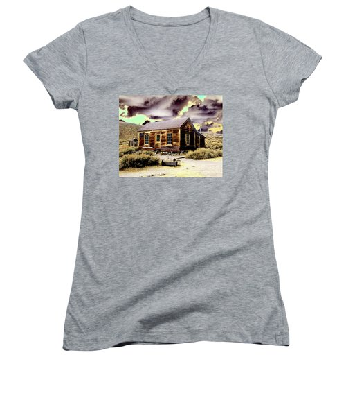Women's V-Neck T-Shirt (Junior Cut) featuring the photograph Bodie House by Jim and Emily Bush