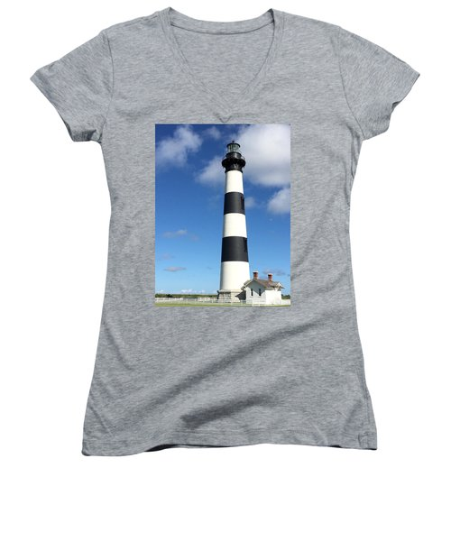 Bodie Island Lighthouse Cape Hatteras Women's V-Neck T-Shirt (Junior Cut) by Dorothy Maier