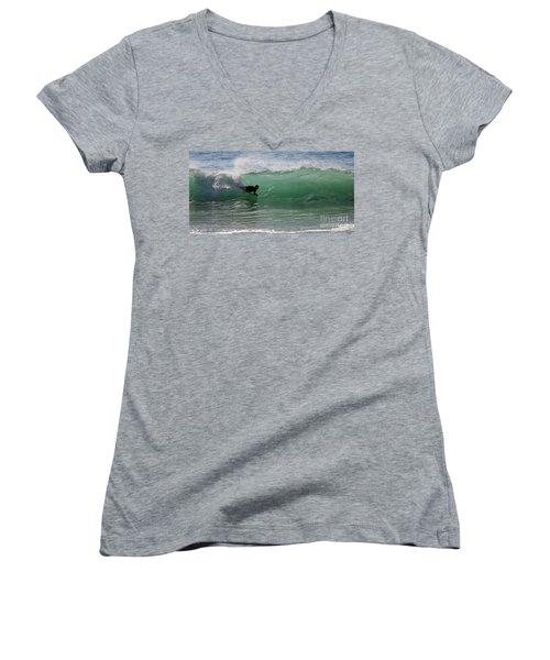 Body Surfer Women's V-Neck T-Shirt (Junior Cut) by Jim Gillen