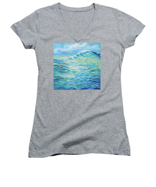 Bodysurfing Rolling Wave Women's V-Neck T-Shirt