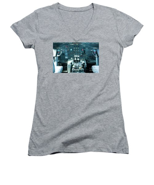 Women's V-Neck T-Shirt (Junior Cut) featuring the photograph Boeing 747 Cockpit 23 by Micah May