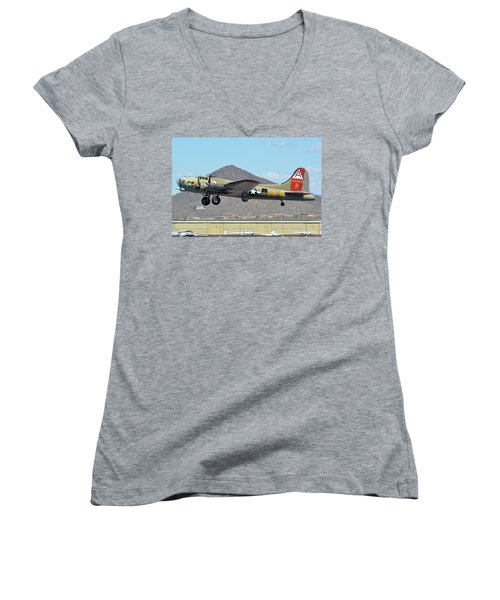 Women's V-Neck T-Shirt (Junior Cut) featuring the photograph Boeing B-17g Flying Fortress N93012 Nine-o-nine Deer Valley Arizona April 13 2016 by Brian Lockett