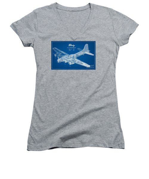 Women's V-Neck T-Shirt (Junior Cut) featuring the drawing Boeing Flying Fortress by Pg Reproductions