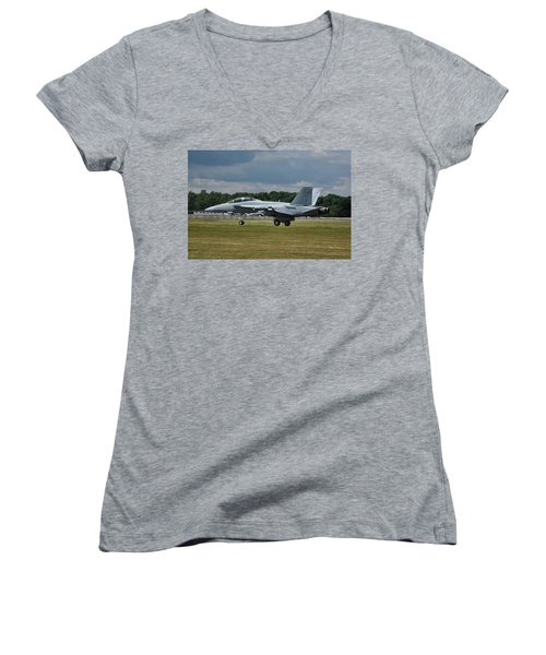 Women's V-Neck T-Shirt (Junior Cut) featuring the photograph Boeing Super Hornet  by Tim Beach