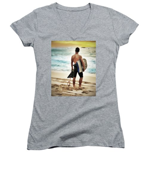 Women's V-Neck T-Shirt (Junior Cut) featuring the photograph Boggie Boarder At Waimea Bay by Jim Albritton