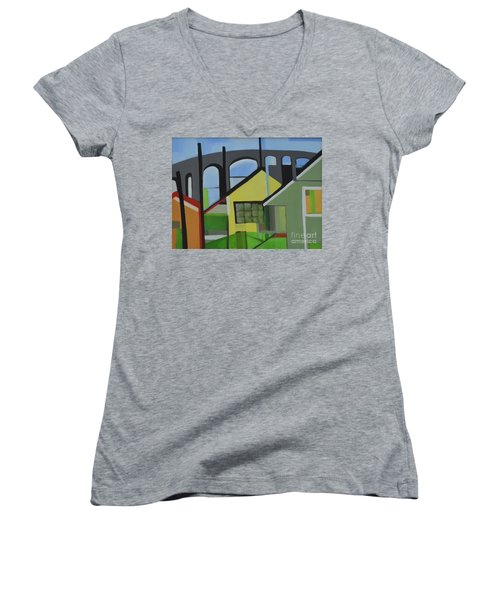 Bogota 80 Women's V-Neck T-Shirt (Junior Cut) by Ron Erickson