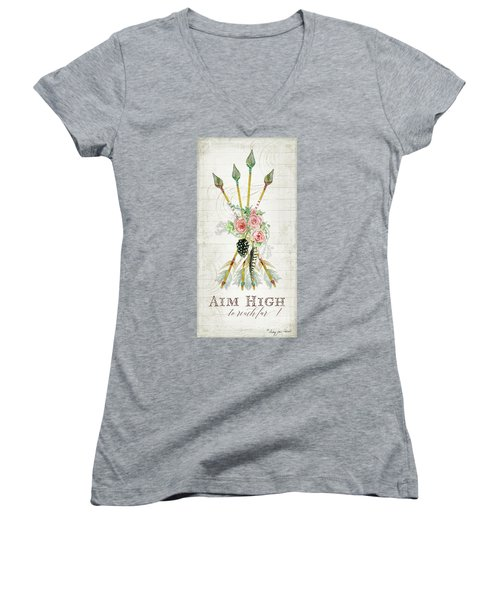 Women's V-Neck T-Shirt featuring the painting Boho Western Arrows N Feathers W Wood Macrame Feathers And Roses Aim High by Audrey Jeanne Roberts