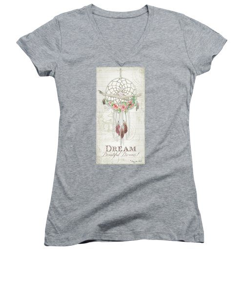 Women's V-Neck T-Shirt featuring the painting Boho Western Dream Catcher W Wood Macrame Feathers And Roses Dream Beautiful Dreams by Audrey Jeanne Roberts