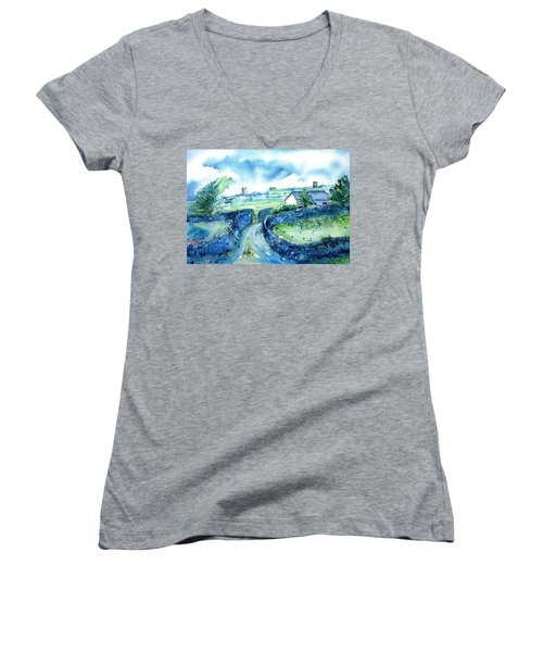 Boithrin Inisheer Women's V-Neck T-Shirt (Junior Cut) by Trudi Doyle