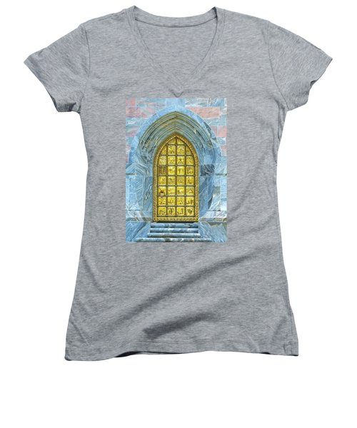 Women's V-Neck featuring the photograph Bok Tower Entrance  by Kevin Banker
