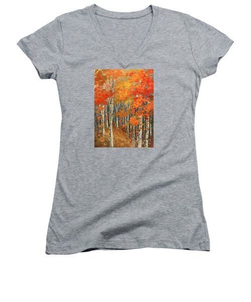 Women's V-Neck T-Shirt (Junior Cut) featuring the painting Bold Banners by Tatiana Iliina