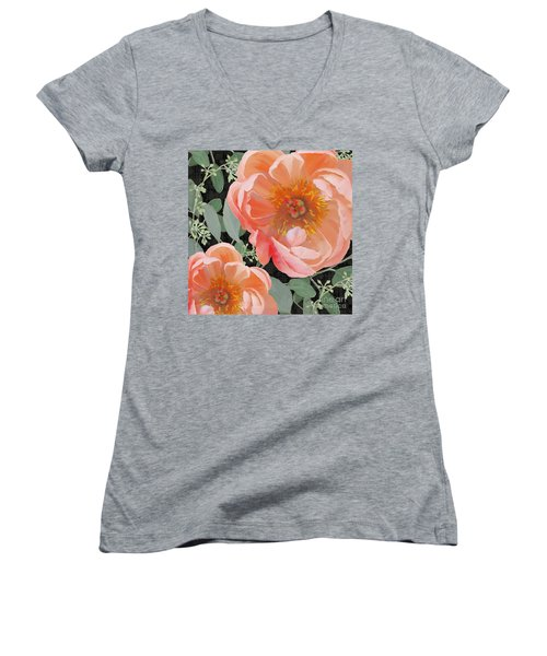 Women's V-Neck T-Shirt featuring the painting Bold Peony Seeded Eucalyptus Leaves by Audrey Jeanne Roberts