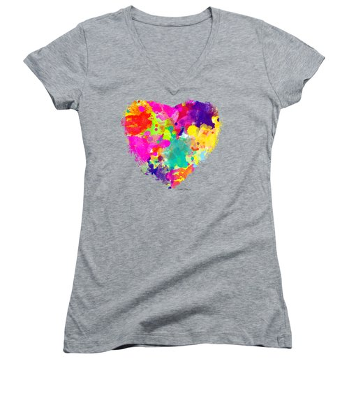 Bold Watercolor Heart - Tee Shirt Design Women's V-Neck (Athletic Fit)