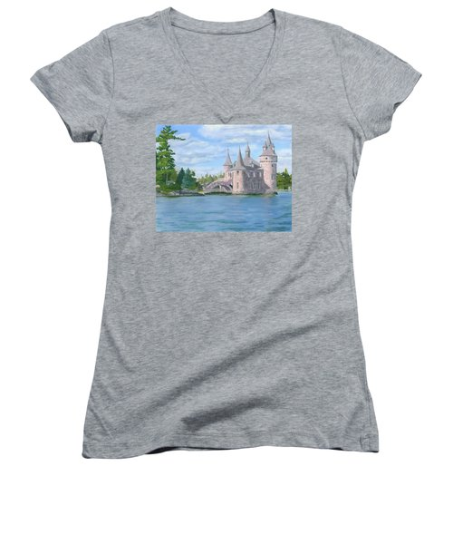 Women's V-Neck T-Shirt (Junior Cut) featuring the painting Boldt's Power House by Lynne Reichhart