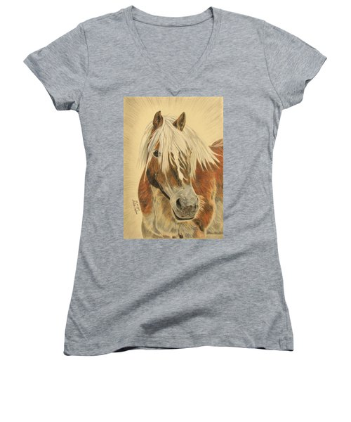 Women's V-Neck T-Shirt (Junior Cut) featuring the drawing Bolero by Melita Safran