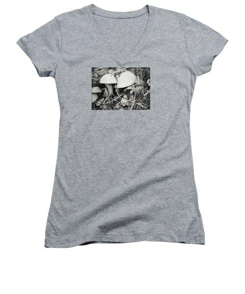 Women's V-Neck T-Shirt (Junior Cut) featuring the photograph Boletus Mushrooms by Juls Adams