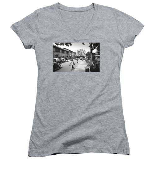 Broad Street Facing Cms Bus-stop Women's V-Neck (Athletic Fit)