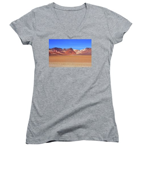Women's V-Neck T-Shirt (Junior Cut) featuring the photograph Bolivian Altiplano  by Aidan Moran
